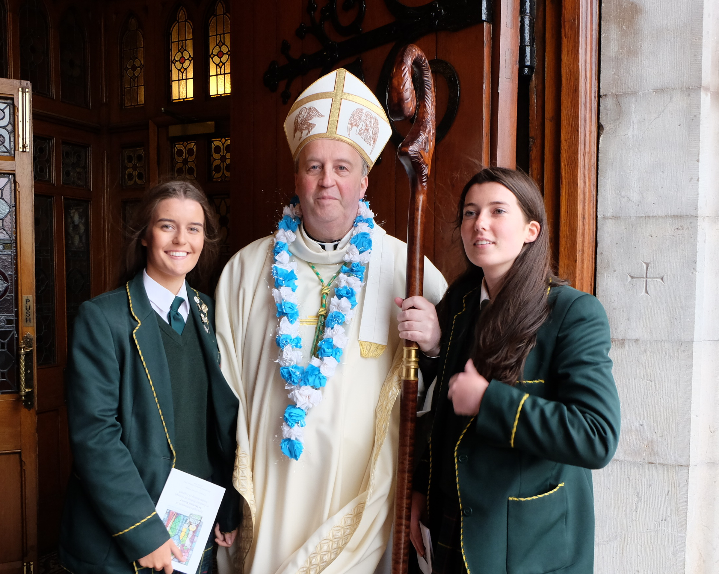 Bishop Michael Router with students from St Catherines College Armagh