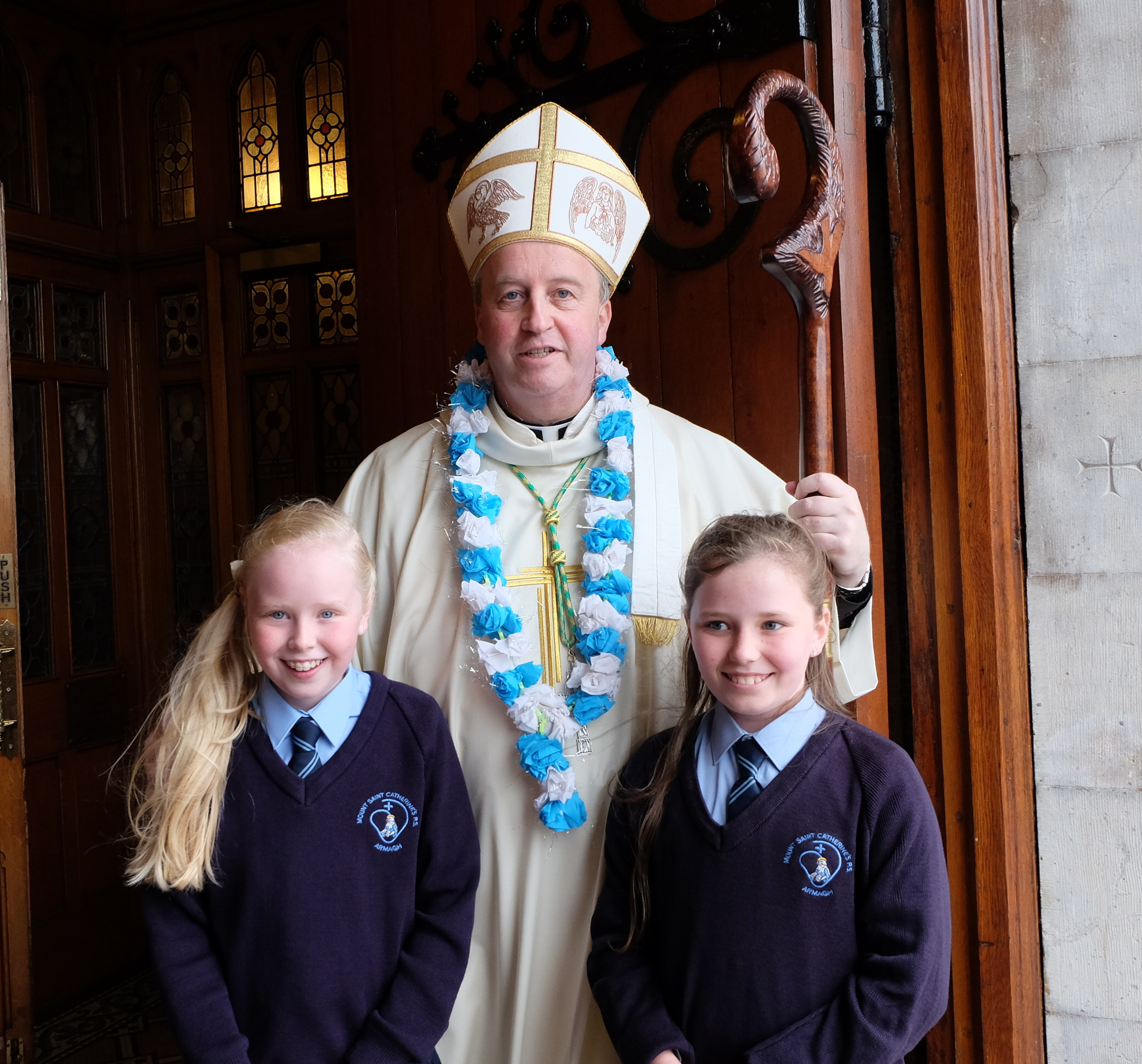 Bishop Michael Router with students from Mt St Catherines Primary School
