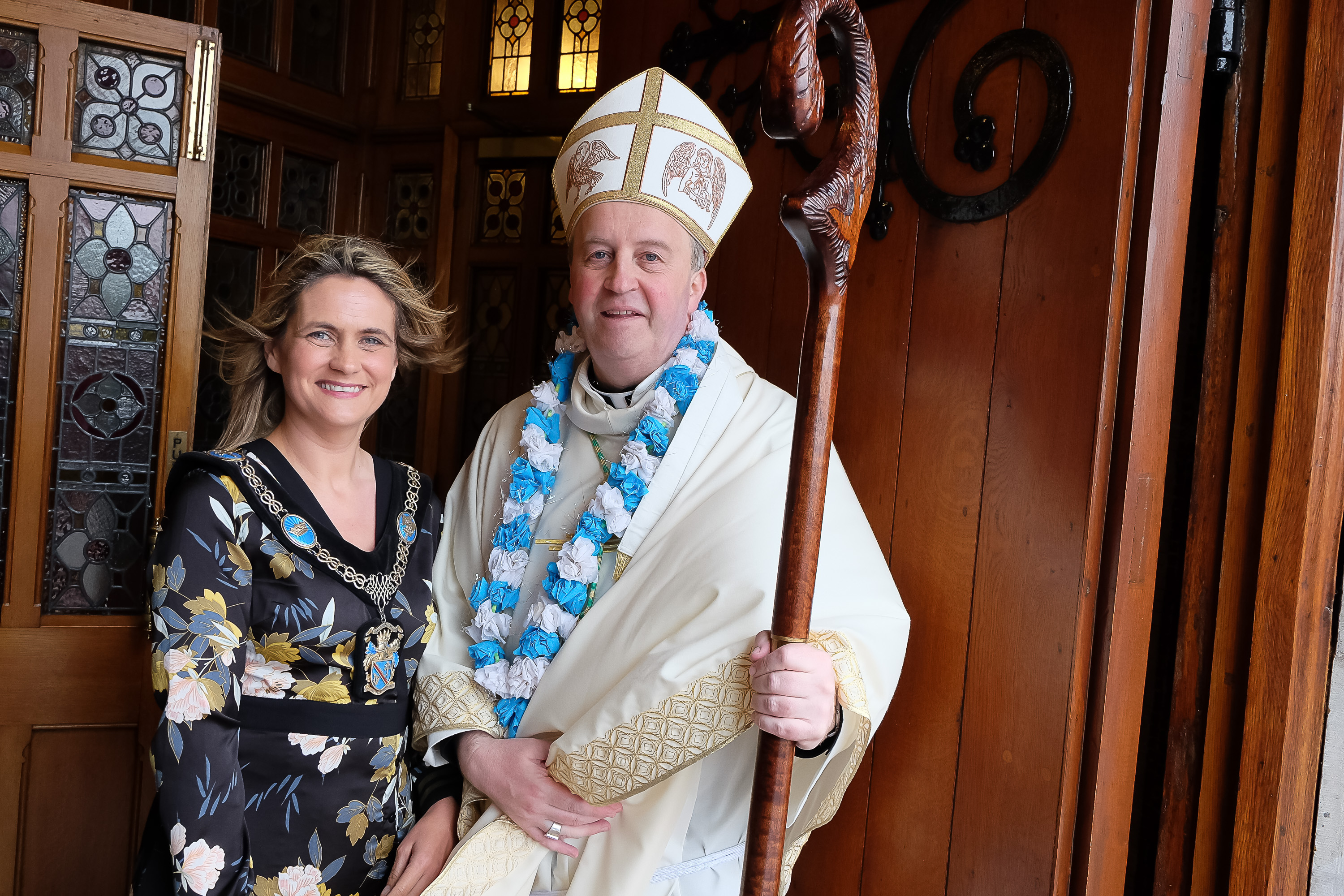 Bishop Michael Router with Lord Mayor of Armagh Mealla Campbell