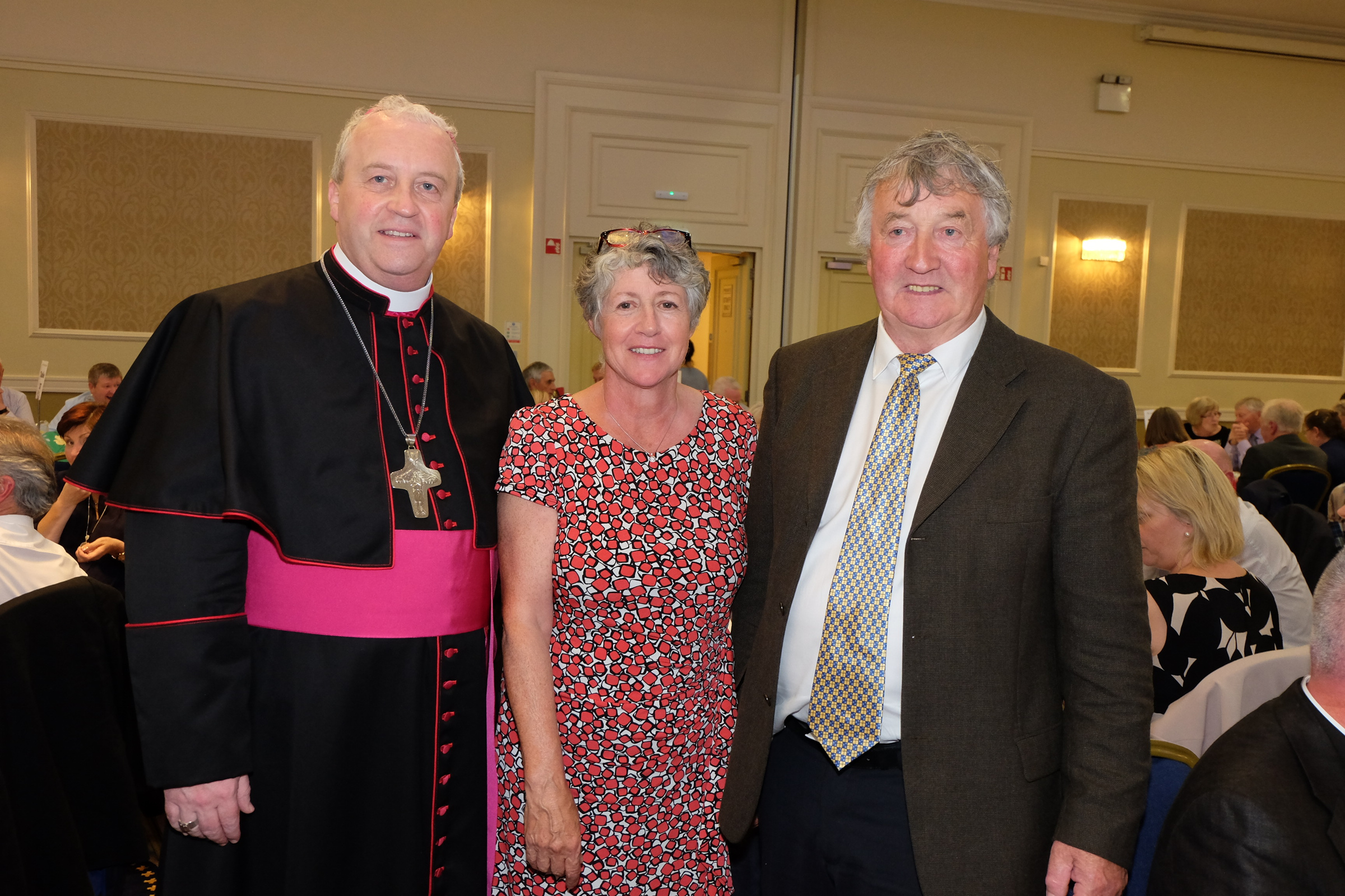 Bridie and Dermot Dolan with the new Bishop Michael Router at a celebration dinner following the Bishop's Ordination
