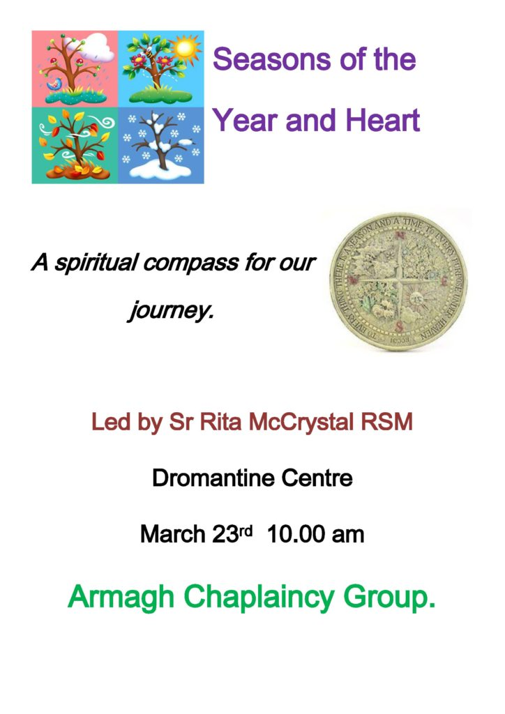 Seasons of the Year and Heart by Sr Rita McCrystal RSM @ Dromantine Retreat & Conference Centre