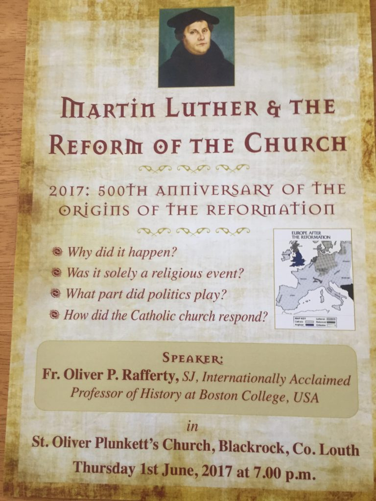 Talk in Blackrock Parish: Martin Luther and Reform of the Church @ St. Oliver Plunkett Church in Blackrock, Co. Louth