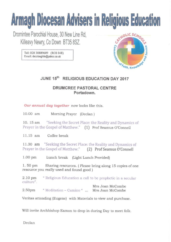 Armagh Diocesan Advisors in Religious Education: Religious education day 2017 @ Drumcree Pastoral Centre, Portadown