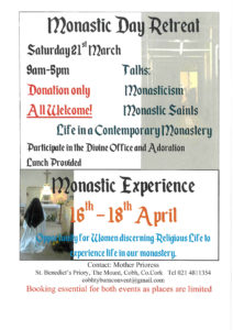 Monastic Contemplative Life - Weekend with a Difference 20-22 March @ St Benedict's, The Mount, Cobh, Co Cork